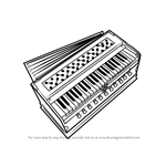 How to Draw Harmonium