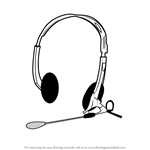 How to Draw Headphones with Microphone