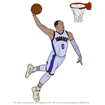 How to Draw Russell Westbrook Dunking