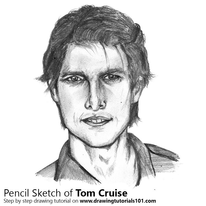 Pencil Sketch of Tom Cruise - Pencil Drawing