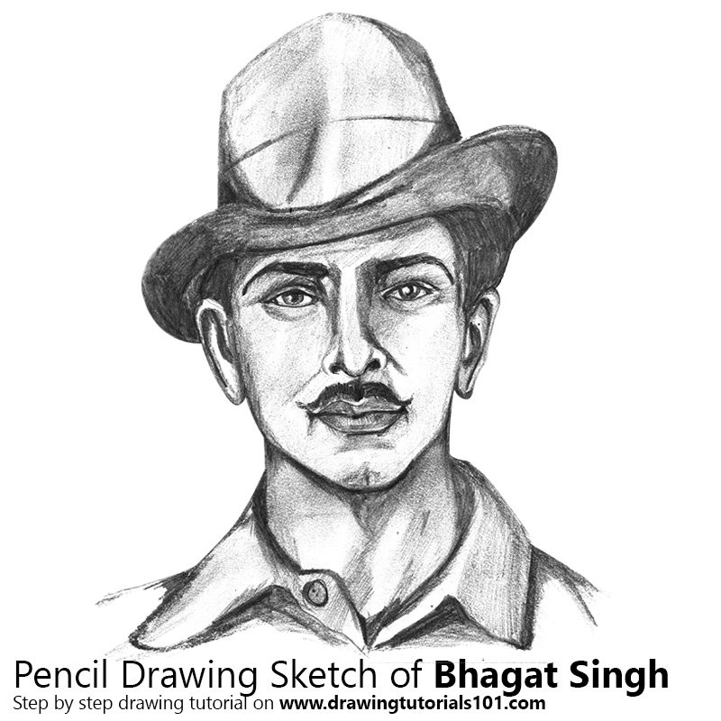 Pencil Sketch of Bhagat Singh - Pencil Drawing