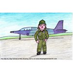 How to Draw an Airforce Pilot for Kids Scene