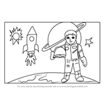 How to Draw an Astronaut in Space Scene