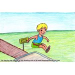 How to Draw a Boy Long Jump Sports Scene