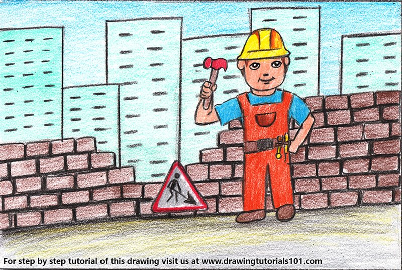 Construction Worker Scene Color Pencil Drawing