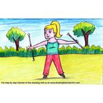How to Draw a Girl Baton Twirling Sport