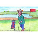 How to Draw a Golf Player at Golf Course Scene