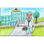 How to Draw a Hospital Building with Doctor