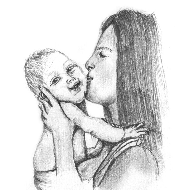 Pencil Sketch of Mother Kissing Baby - Pencil Drawing