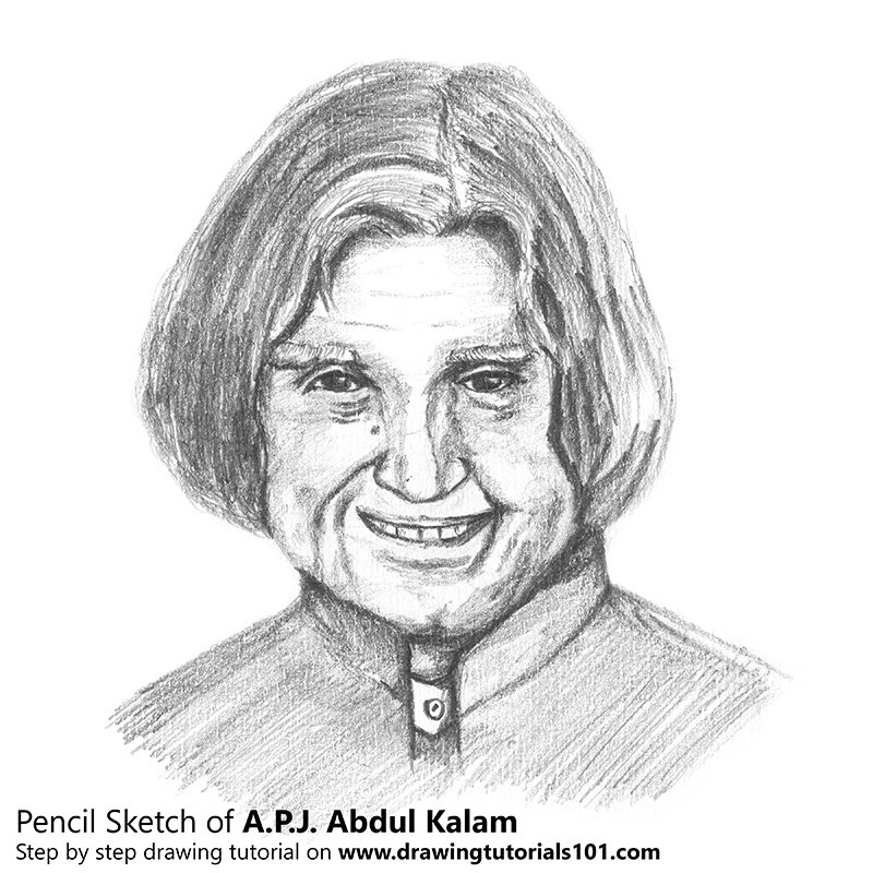 Pencil Sketch of APJ Abdul Kalam - Pencil Drawing