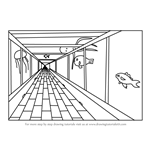 How to Draw One Point Perspective Aquarium