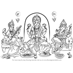 How to Draw Laxmi Ganesh Saraswati