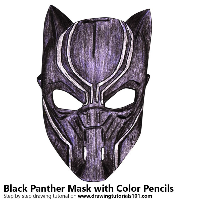 Black Panther Mask Color Pencil Drawing