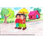 How to Draw Rainy Season Scene