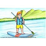 How to Draw Paddle Boarding Sports Scene