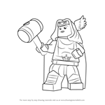 How to Draw Lego Thor Girl
