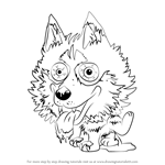 How to Draw Hideous Husky from The Ugglys Pet Shop
