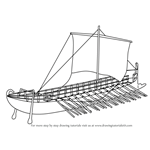 How to Draw Greek Bireme War Ship