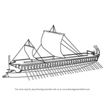 How to Draw Greek Trireme Ship