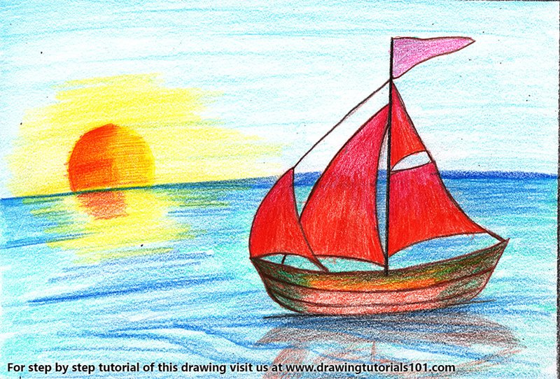 Sailboat on Water Color Pencil Drawing