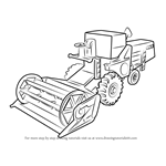 How to Draw Combine Harvester