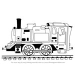 How to Draw Locomotive Steam Engine