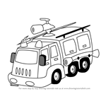 How to Draw a Fire Fighter Truck