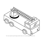 How to Draw Fire truck with Ladder