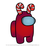 How to Draw Candy Cane from Among Us