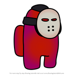 How to Draw Jason Mask from Among Us