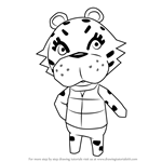 How to Draw Bianca Tiger from Animal Crossing