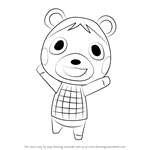 How to Draw Bluebear from Animal Crossing