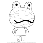 How to Draw Camofrog from Animal Crossing