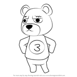 How to Draw Grizzly from Animal Crossing