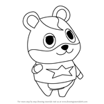 How to Draw Hamlet from Animal Crossing