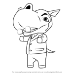 How to Draw Hippeux from Animal Crossing