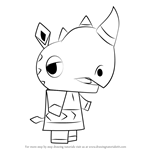 How to Draw Hornsby from Animal Crossing