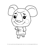 How to Draw Huggy from Animal Crossing