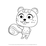 How to Draw Nibbles from Animal Crossing