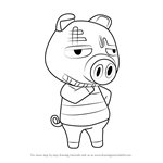 How to Draw Rasher from Animal Crossing