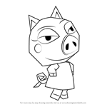 How to Draw Sue E. from Animal Crossing