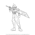 How to Draw Cloud Strife from Final Fantasy
