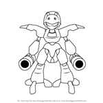 How to Draw Attack-Tyrano from Medabots