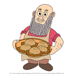 How to Draw Beard Burger Master from PaRappa The Rapper