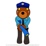 How to Draw Officer Doggy from Piggy