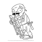 How to Draw Ladder Zombie from Plants vs. Zombies