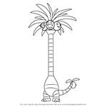 How to Draw Alola Exeggutor from Pokemon Sun and Moon