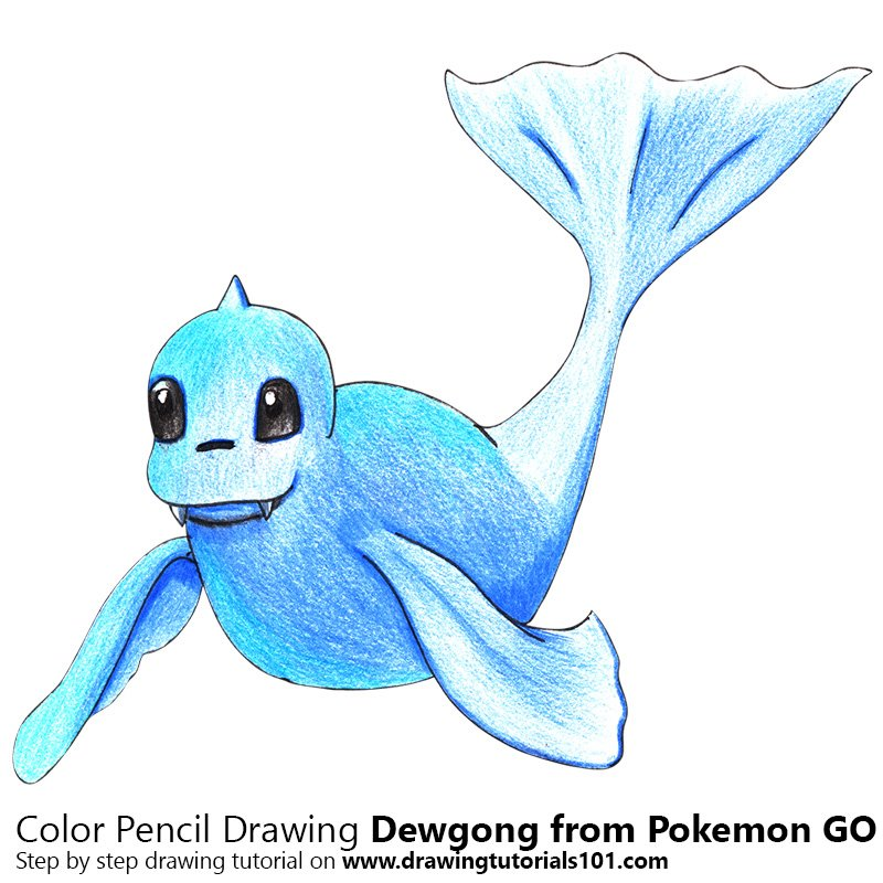 Dewgong from Pokemon GO Color Pencil Drawing