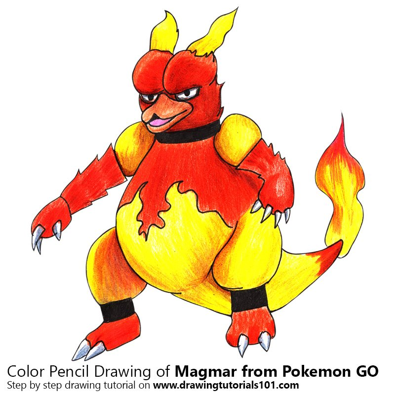 Pencil Sketch of Magmar from Pokemon GO - Pencil Drawing