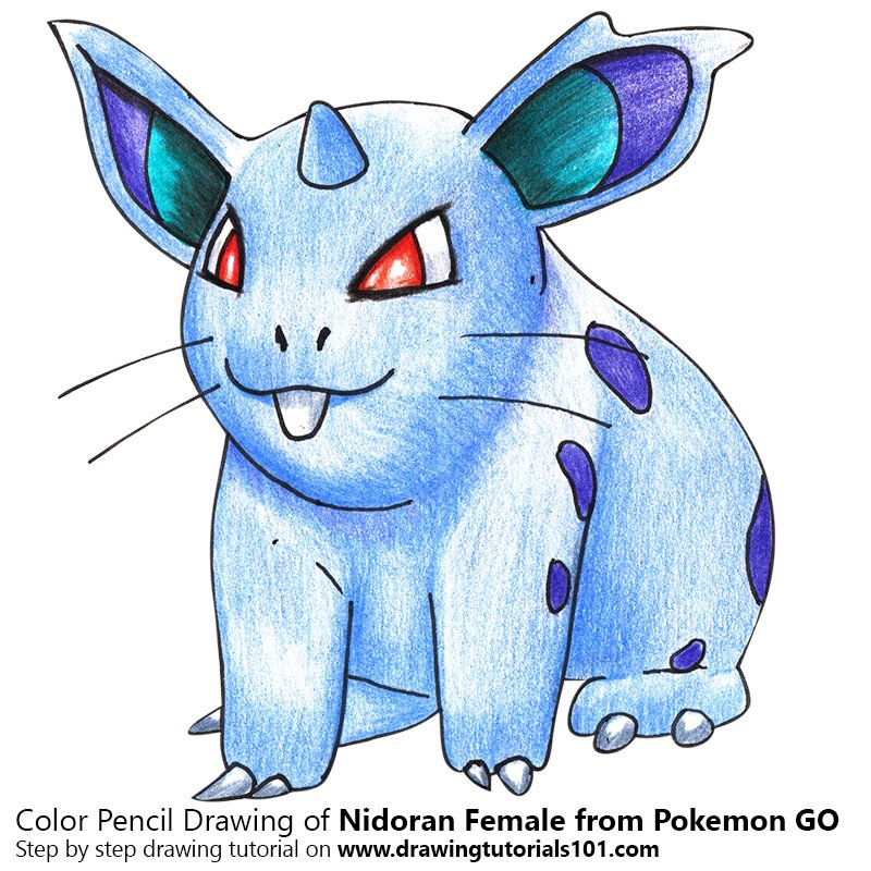 Nidoran Female from Pokemon GO Color Pencil Drawing